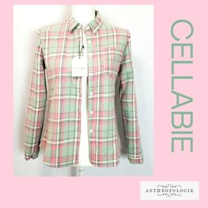 Cellabie Anthropologie Plaid Fleece Jacket Size M